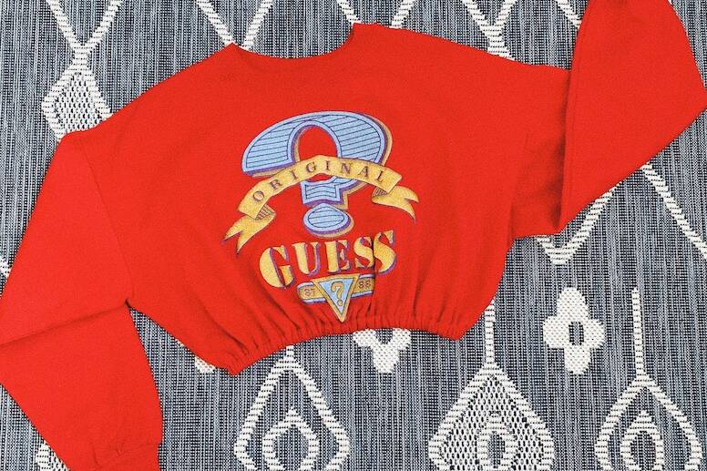 Winter capsule collection: vintage red Guess scrunched sweater top